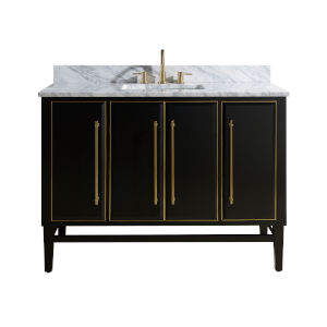 Black 49-Inch Bath vanity Set with Gold Trim and Carrara White Marble Top