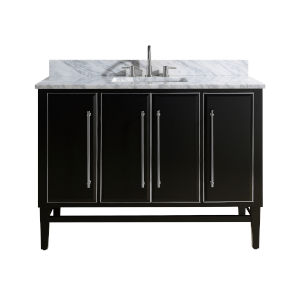 Black 49-Inch Bath vanity Set with Silver Trim and Carrara White Marble Top