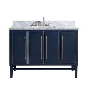 Navy Blue 49-Inch Bath vanity Set with Silver Trim and Carrara White Marble Top