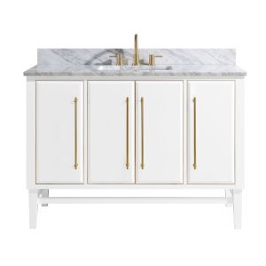 White 49-Inch Bath vanity Set with Gold Trim and Carrara White Marble Top