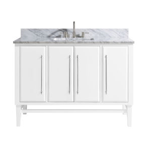 White 49-Inch Bath vanity Set with Silver Trim and Carrara White Marble Top