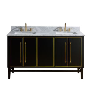 Black 61-Inch Bath vanity Set with Gold Trim and Carrara White Marble Top