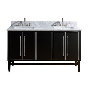Black 61-Inch Bath vanity Set with Silver Trim and Carrara White Marble Top