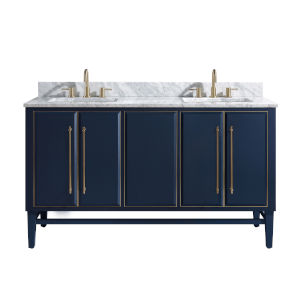 Navy Blue 61-Inch Bath vanity Set with Gold Trim and Carrara White Marble Top