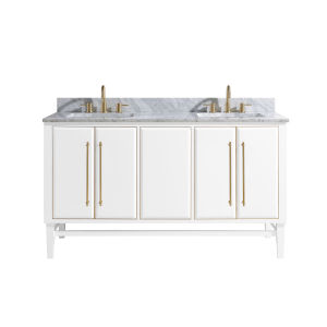 White 61-Inch Bath vanity Set with Gold Trim and Carrara White Marble Top