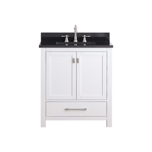 Modero White 30-Inch Vanity Combo with Black Granite Top