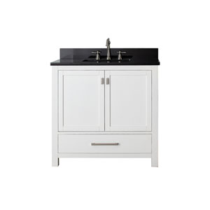 Modero White 36-Inch Sink Vanity with Black Granite Marble Top