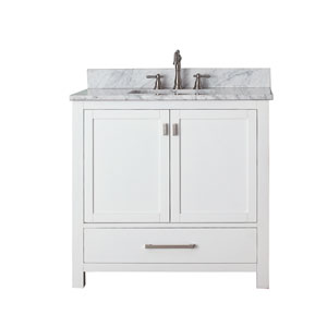 Modero White 36-Inch Sink Vanity with Carrera White Marble Top