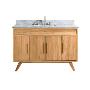 Taylor Natural Teak 49-Inch Bathroom vanity with Carrara White Marble Top