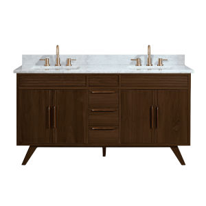 Taylor Brown Teak 61-Inch Bathroom vanity with Carrara White Marble Top