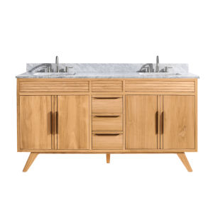 Taylor Natural Teak 61-Inch Bathroom vanity with Carrara White Marble Top