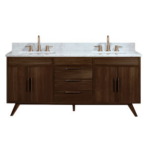 Taylor Brown Teak 73-Inch Bathroom vanity with Carrara White Marble Top