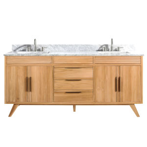 Taylor Natural Teak 73-Inch Bathroom vanity with Carrara White Marble Top