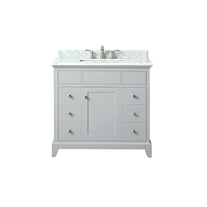 Aurora 37 inch Vanity in Light Gray finish with Carrera White Marble Top