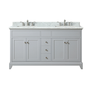 Aurora 61 inch Double Sink Vanity in Light Gray finish with Carrera White Marble Top