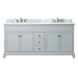 Aurora 73 inch Double Sink Vanity in Light Gray finish with Carrera White Marble Top