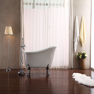Elise 59-inch Free Standing Acrylic Soaking Tub with Rear Drain, Pop-up Drain, and Overflow