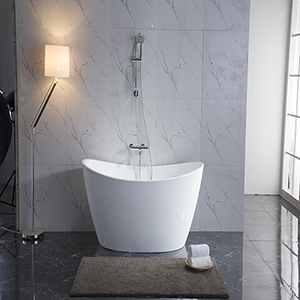 Maya 67-inch Free Standing Acrylic Soaking Tub with Center Drain, Pop-up Drain, and Overflow