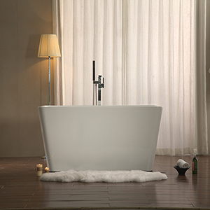 Adele 59-inch Free Standing Acrylic Soaking Tub with Center Drain, Pop-up Drain, and Overflow