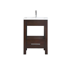 CityLoft 25 inch Vanity in Espresso finish with Integrated White Vitreous China Top