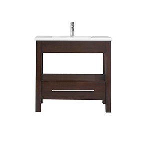 CityLoft 37 inch Vanity in Espresso finish with Integrated White Vitreous China Top
