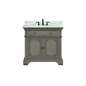 Hastings 37 inch Vanity in French Gray finish with Carrera White Marble Top