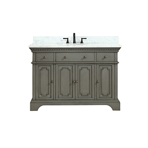 Hastings 49 inch Vanity in French Gray finish with Carrera White Marble Top