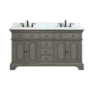 Hastings 61 inch Double Sink Vanity in French Gray finish with Carrera White Marble Top