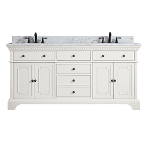 Hastings 73 inch Double Sink Vanity in French White finish with Carrera White Marble Top