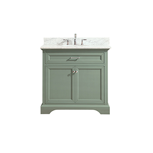 Mercer 37 inch Vanity in Sea Green finish with Carrera White Marble Top