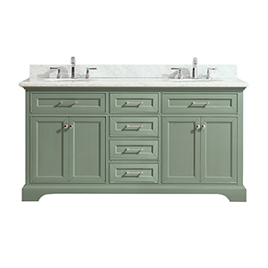Mercer 73 inch Double Sink Vanity in Sea Green finish with Carrera White Marble Top