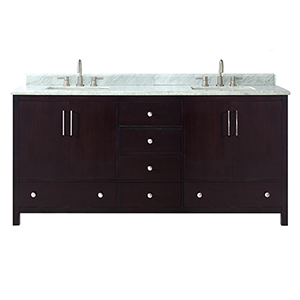 Rockford 73 inch Double Sink Vanity in Dark Espresso finish with Carrera White Marble Top