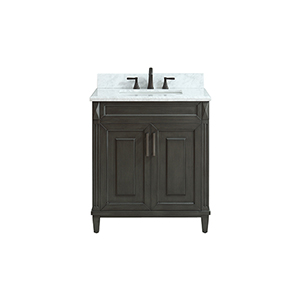Sterling 31 inch Vanity in Charcoal finish with Carrera White Marble Top