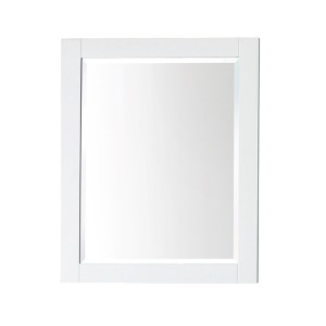 White 24-Inch Beveled Edge Rectangular Mirror