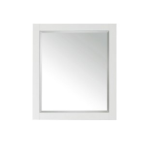 White 28-Inch Beveled Edge Rectangular Mirror