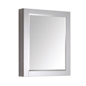 Chilled Gray 24-Inch Beveled Edge Rectangular Mirror Cabinet
