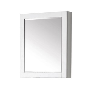 White 24-Inch Beveled Edge Rectangular Mirror Cabinet