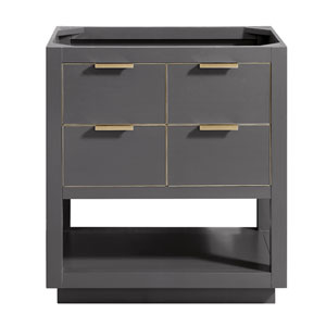 Allie 30-Inch Twilight Gray Matte Gold Vanity Only