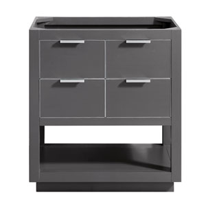 Allie 30-Inch Twilight Gray Brushed Silver Vanity Only