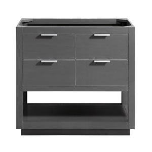 Allie 36-Inch Twilight Gray Brushed Silver Vanity Only