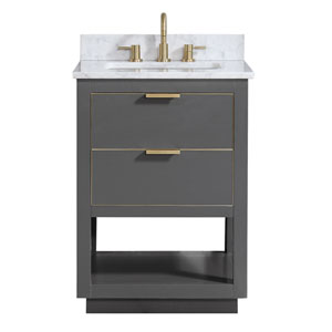 Allie 25-Inch Twilight Gray and Matte Gold Vanity Combo