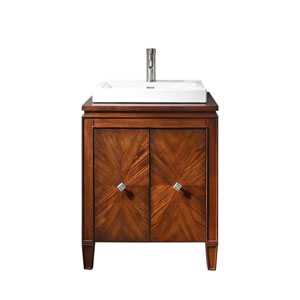 Brentwood 25-Inch New Walnut Vanity with Semi-Recessed Sink