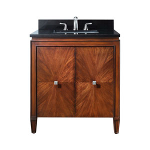Brentwood 31-Inch New Walnut Vanity with Black Granite Top