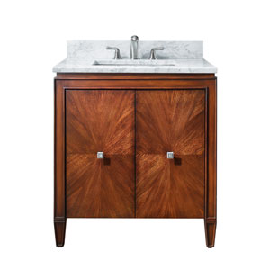 Brentwood 31-Inch New Walnut Vanity with Carrera White Marble Top