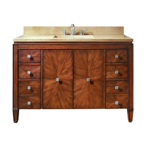 Brentwood 49-Inch New Walnut Vanity with Galala Beige Marble Top
