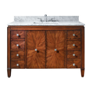 Brentwood 49-Inch New Walnut Vanity with Carrera White Marble Top