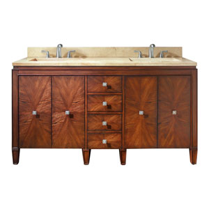 Brentwood 61-Inch New Walnut Vanity with Galala Beige Marble Top