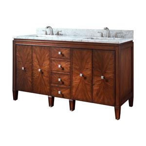 Brentwood 61-Inch New Walnut Vanity with Carrera White Marble Top
