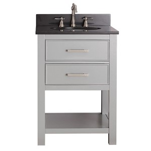 Brooks Chilled Gray 24-Inch Vanity Combo with Black Granite Top
