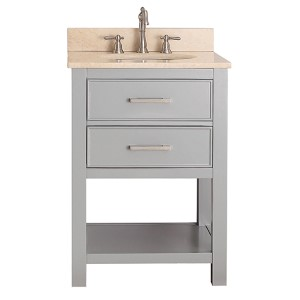 Brooks Chilled Gray 24-Inch Vanity Combo with Galala Beige Marble Top